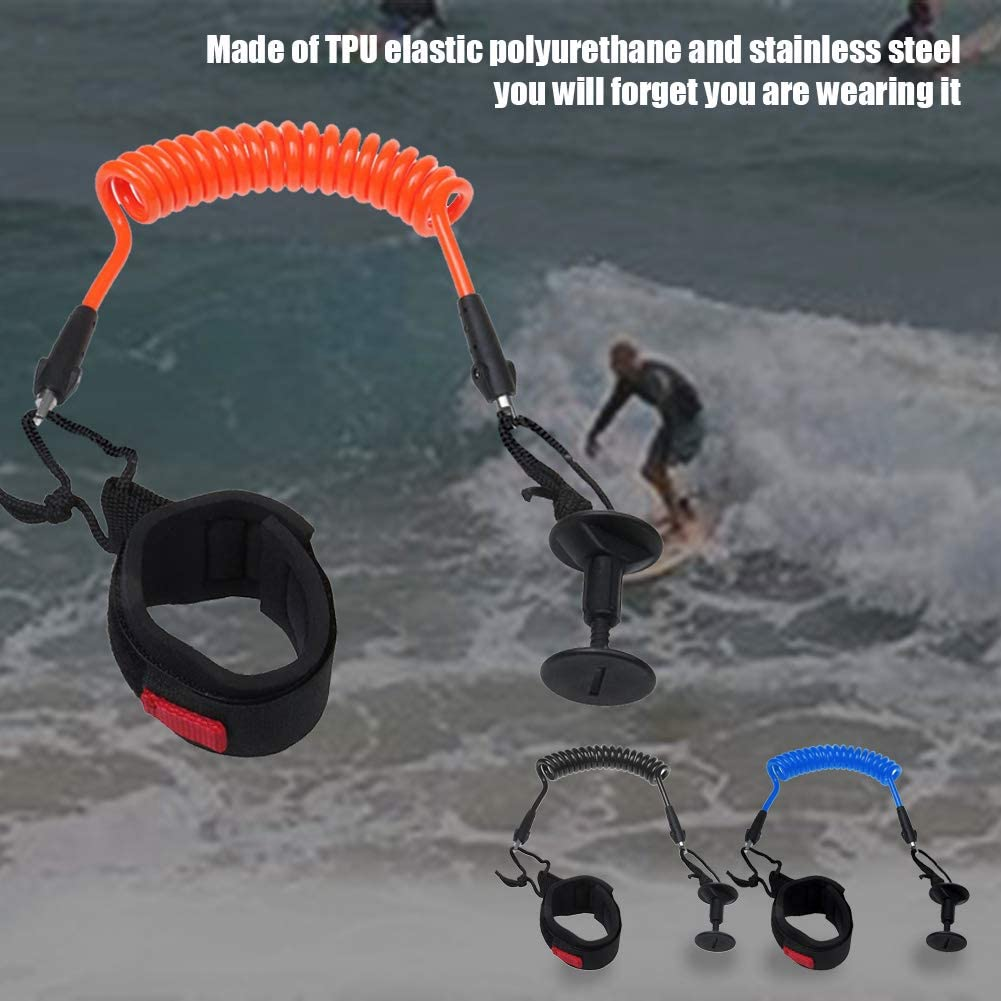 beiyoule Coiled Leash for Paddle Board,Adjustable Size Wrist Ankle Padded Safety Equipment Bodyboard Leash Surfing Coil