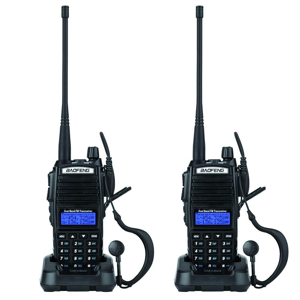 BaoFeng 2 Pack 5W UV-82 Dual Band Dual Standby Two Way Radio Handheld Walkie Talkie Black