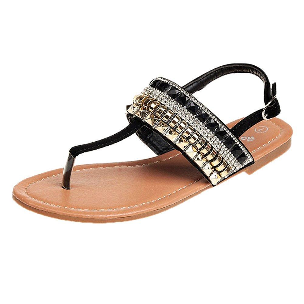c22c06b2e037 Fashion Women Girls Flat Casual Bohemian Diamond Thong Sandal Gladiator Sandals  Flip Flops Roman Flats Flat Comfort Slippers Plus Size Black Beige  ...