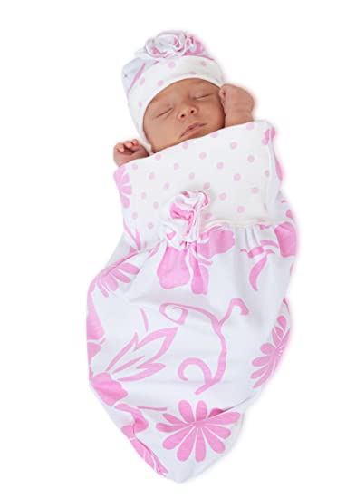 3b09d3c8eae Amazon.com  Cozy Cocoon - Baby Cocoon Swaddle and Matching Hat- Big Pink  Flower (3-6 months)  Baby