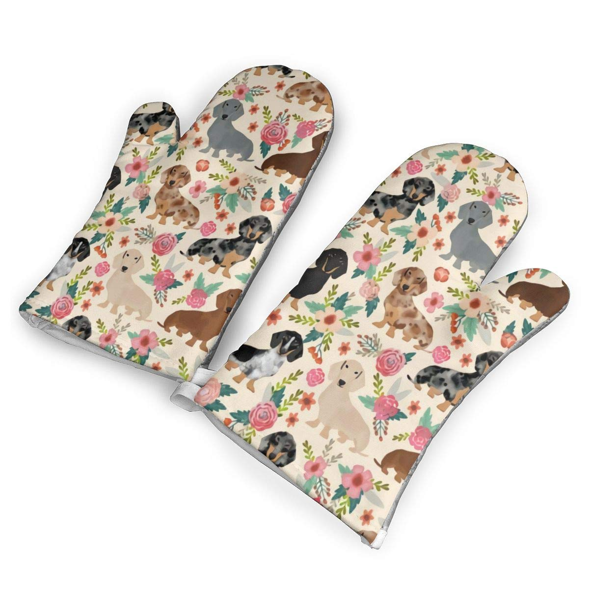not Flowers Pink Dachshund (1) Oven Mitts with Polyester Fabric Printed Pattern,1 Pair of Heat Resistant Oven Gloves for Cooking,Baking,Grilling,Barbecue Potholders