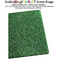 5x7 - Shamrock Green ~ Kids Crazy Carpet Home & School Area Rugs | People & Pet Friendly – R2X Stain Resistance & Odor Reduction