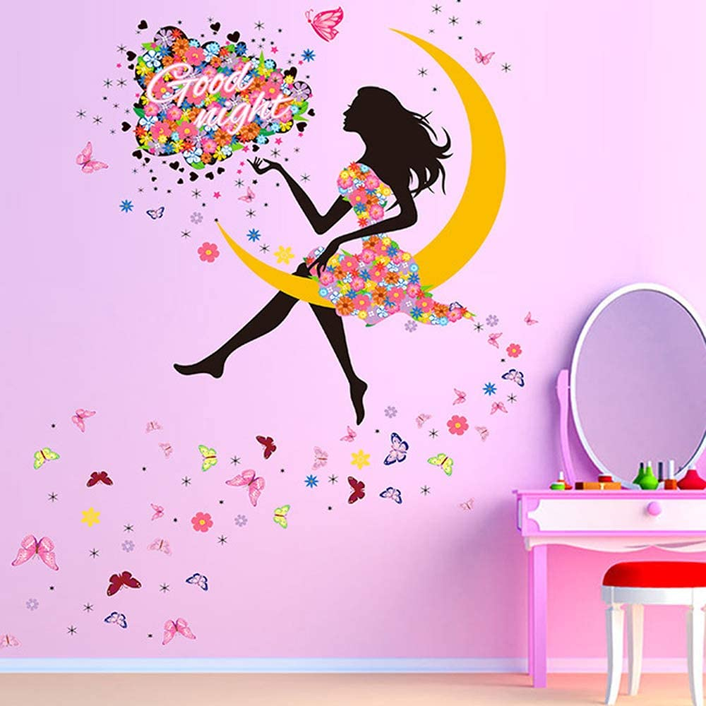 Girl Moon Butterfly Wall Sticker Flower Fairy Wall Decal, Peel and Stick Removable Flower Fairy On The Moon Say Good NightWall Stickers Wall Mural for Girls Nursery Bedroom (Flower Fairy on The Moon)