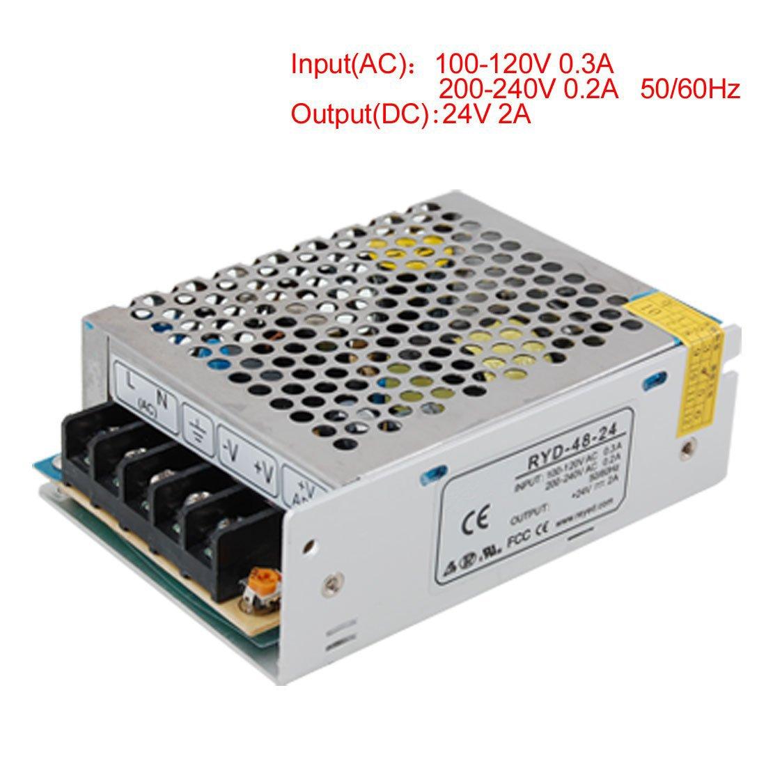 SODIAL(R) AC 110V 220V a DC 24V 2A 48W voltaggio trasformatore interruttore Alimentazione Elettrica per Led Strip 015584