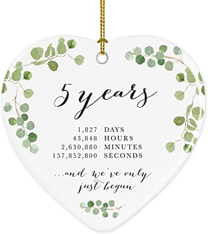 Amazon Com Andaz Press Heart Porcelain Ceramic 5th Wedding Anniversary Christmas Tree Ornament Gift 5 Years 1827 Days 43848 Hours 2630880 Minutes 157852800 Seconds 1 Pack Inc Gift Box Kitchen Dining