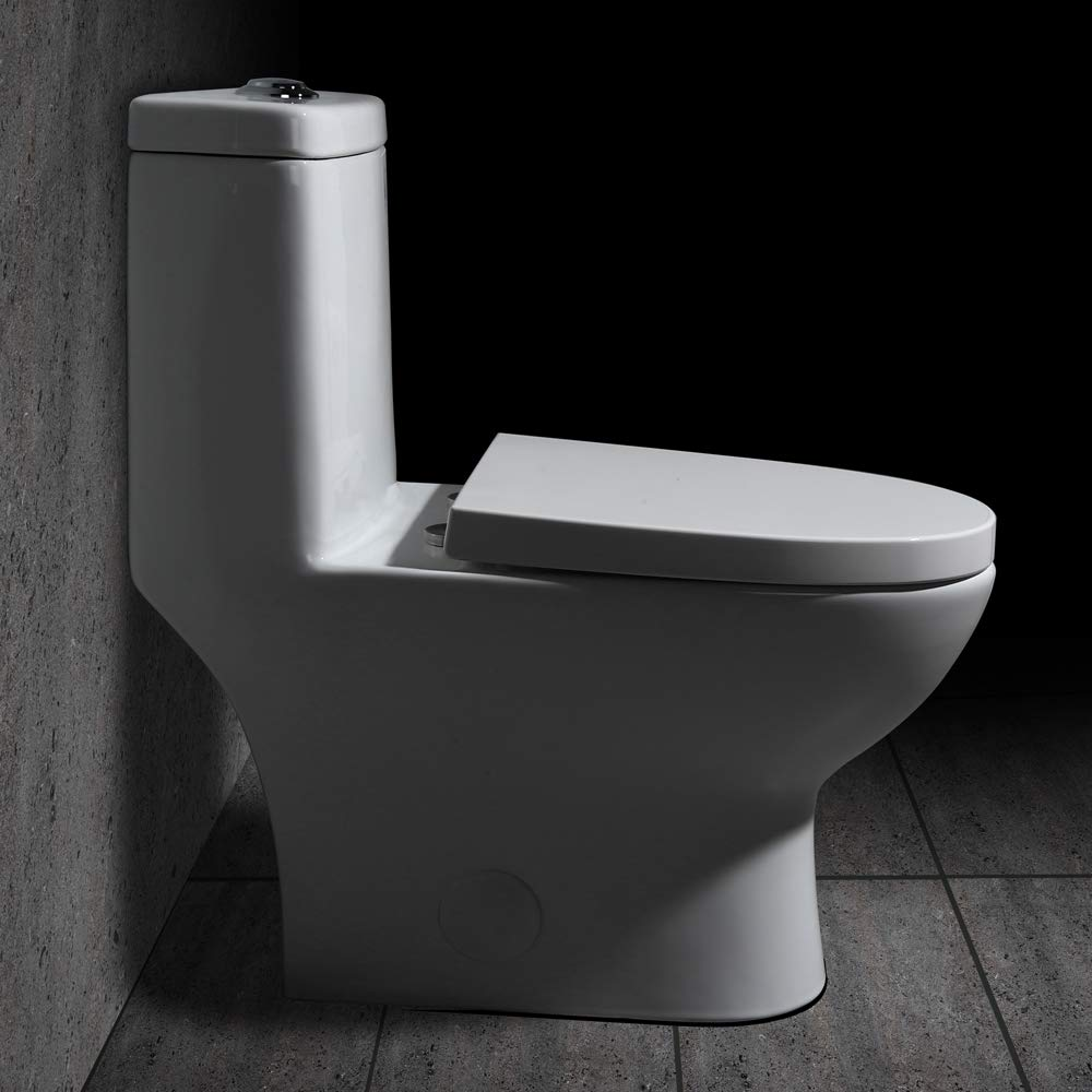 JinYuZe One-Piece Toilet,Dual Flush Elongated Siphonic White Bathroom Toilet,Standard Height with Close Seat /& Lid,cUPC Certificated