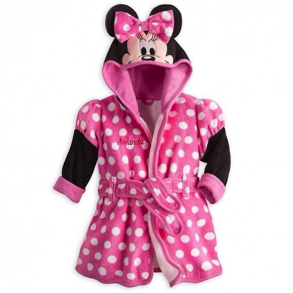 Disney Store Deluxe Minnie Mouse Bath Robe Towel for Baby Babies Pink 6 - 9 Months by Disney