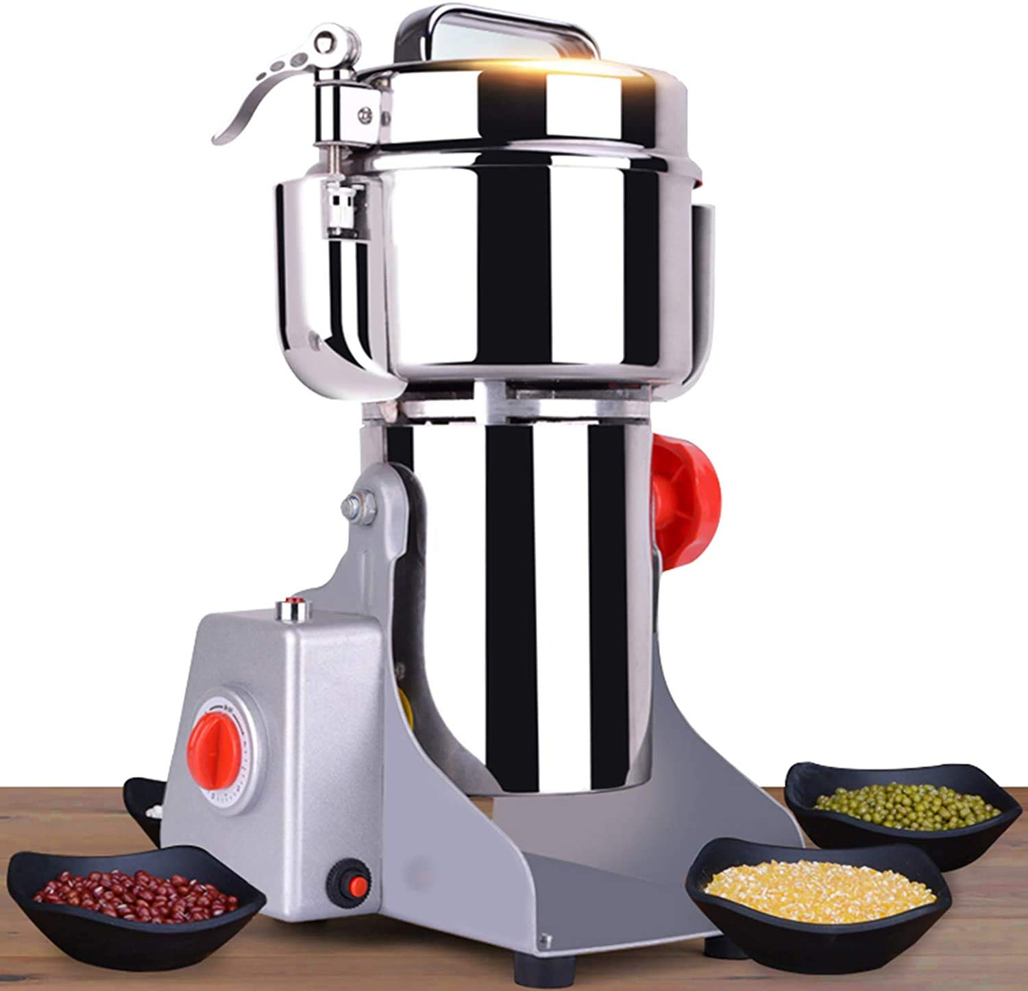 CGOLDENWALL 2000g Open-Cover-Stop 3000W Electric Grain Grinder 32000RPM High Speed Superfine Grain Mill Spice/Herb/Coffee/Nut/Powder/Cereal Grinder with Overload Protection- Timer- Commercial Motor CE