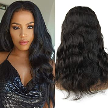 55753bce4e3 Xtrend 18inch Body Wave Lace Front Wig with Baby Hair Human Hair Wigs For  Black Women 130% Density 10A Brazilian Virgin Hair Natural Hairline (18