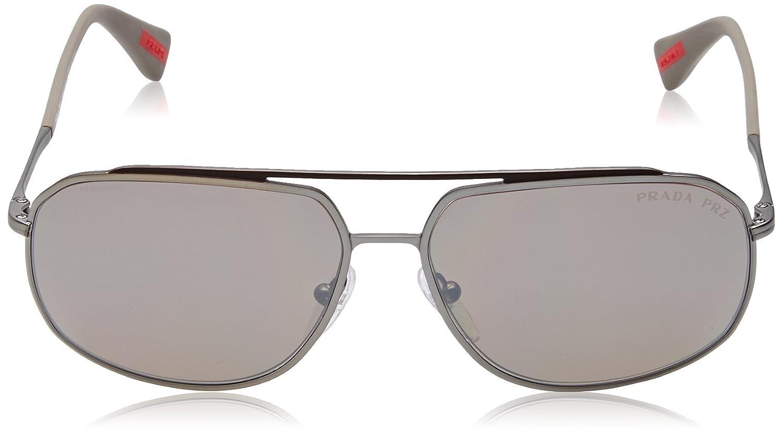 Prada Sport Herren Sonnenbrille PS56RS DG15K0, Braun (Brown/Lead Rubber/Dkbrown Silverpolar), 60