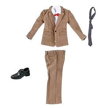 Camicia Giacca Pantaloni Cravatta Cintura Scarpe Per Aziona Figuri 12/'/' Nero