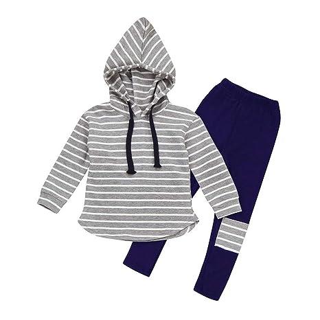 dda7dd41f feiXIANG Traje para niños bebé recién Nacido bebé niño niña Ropa a Rayas  Camisa con Capucha
