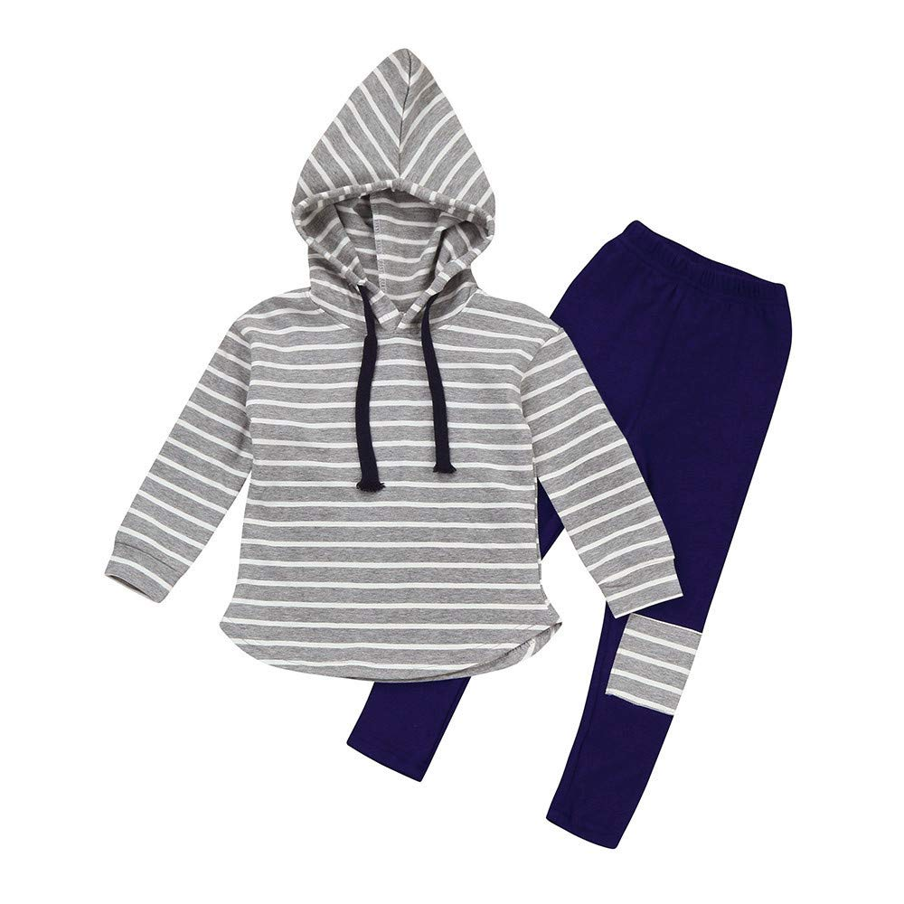 Hatoys 2pcs Toddler Baby Boy Girl Stripe Hoodie Tops Patch Pants Outfits Sets(5 Years,Gray)