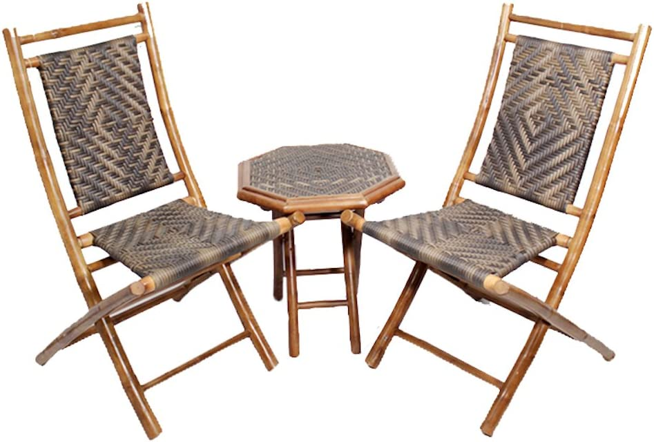 Heather Ann Creations 3-Piece Bamboo Bistro Set with Arrow Weave, Brown and Natural