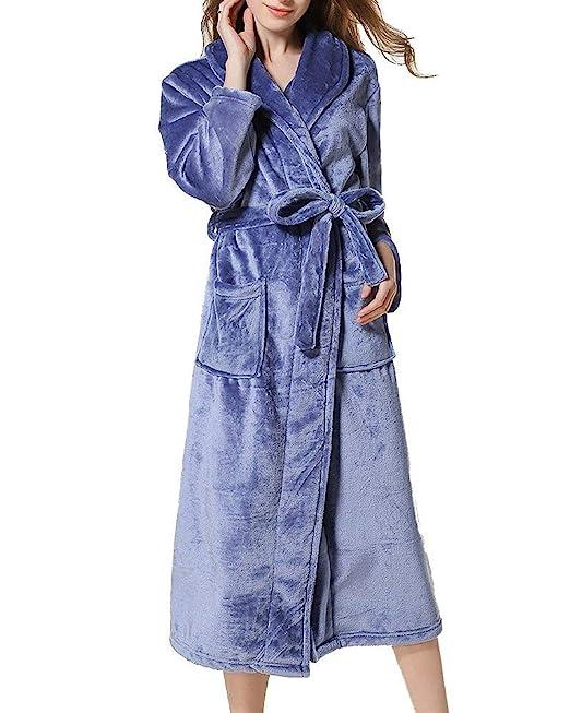 Camisones Unisex Pareja Elegantes Moda Espesor Termica Hombre Otoño Pijamas Mujer Invierno Mujer Batas Casuales Mujeres Manga Larga V-Cuello con Bolsillos ...