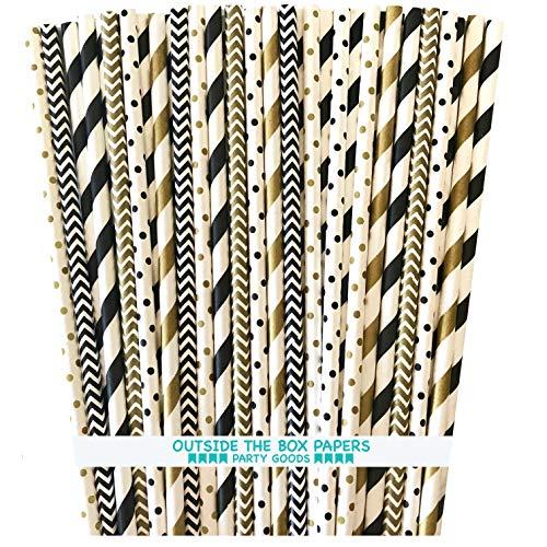 Paper Straws - Black Gold White - Stripe Polka Dot Chevron - 7.75 Inches - 150 Pack - Outside the Box Papers -