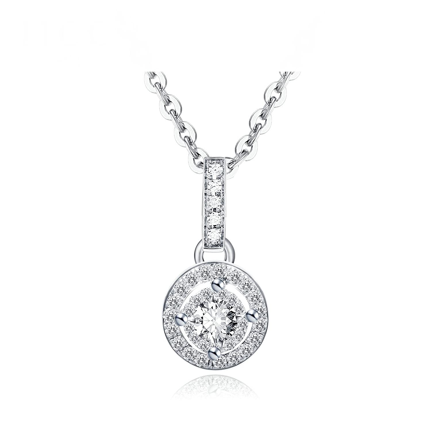 KnSam 18K gold Necklace for Women Diamond Group Embedded Silver Chain Length 40+5CM [Fine Jewelry]