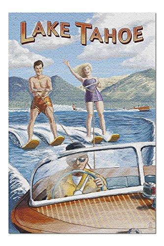 Lake Tahoe - Water Skiing Scene (20x30 Premium 1000 Piece Jigsaw Puzzle, Made in USA!)