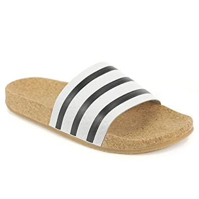 adidas Women s Original Adilette Cork Sandals White Black BROWNNEW (10 B(M 9d6544465