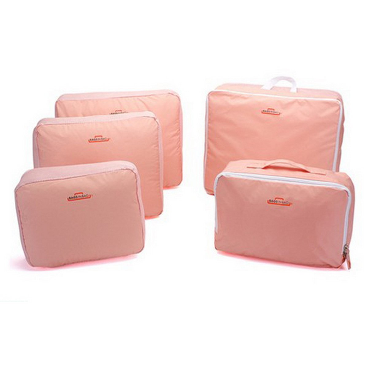 DEHANG Nylon 5pcs/Set Portable Dustproof Packing Cube Underwear Storage Bag Organizer Clothes Accessories Travel Luggage Kit Pink