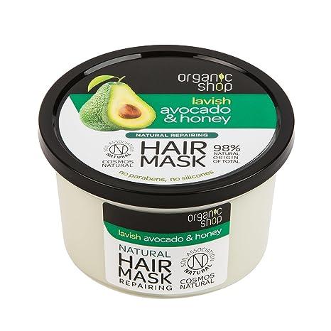 Máscara de pelo orgánico para reparar miel y aguacate