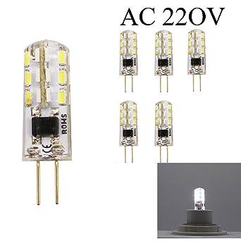 Bombillas cápsulas G4 LED AC 220V/AC 12V 1.5 W 24 x 3014 SMD 6000-6400K Super luminoso spot no compatible con regulador de intensidad ...