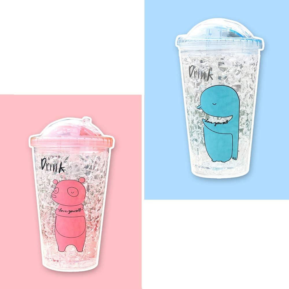 Cono de helado de doble pared vasos helados Vasos vasos de batido YUX Bebidas heladas Vaso de la taza con tapa y pajitas copas de batido sin BPA -15 oz azul vasos de aguardiente