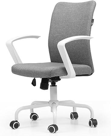 Hbada Chaise de Bureau à roulettes, Fauteuil Pivotant de Conception Ergonomique, Siège en Tissu Respirant pour Maison et Bureau, Hauteur Réglable,