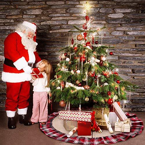 aytai 48inch plaid christmas tree skirts red black ruffle edge linen burlap tree skirt holiday christmas
