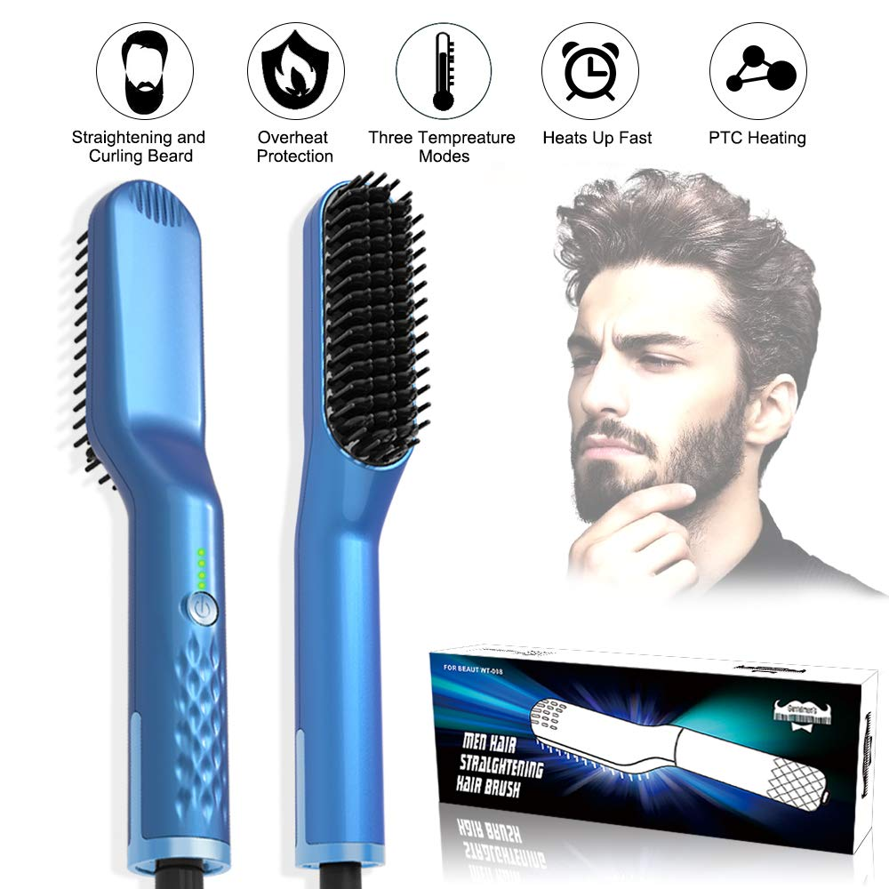 Beard Straightener Comb, Quick Heating Hair Straightening Brush, 3 in1 Hair Beard Styling Tool with Overheating Protection for Men