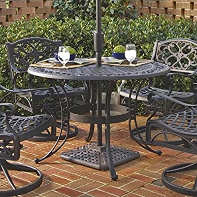 Home Style 5554-30 Biscayne Round Outdoor Dining Table, Black Finish, 42-Inch - Biscayne round outdoor dining table Made of solid cast aluminum Features include hand antiqued powder coat finish sealed with a clear coat to protect finish - patio-tables, patio-furniture, patio - 61ZiE3hxjjL. SS400  -