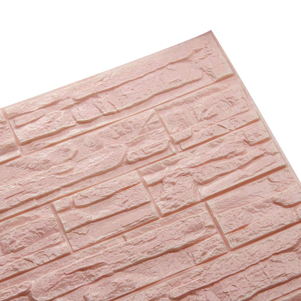 EOWEO Wall Sticker,DIY 3D Brick PE Foam Wallpaper Panels Room Decal Stone Decoration Embossed (60cmx30cm,D)
