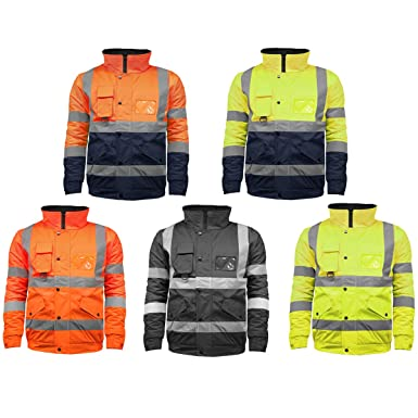 Stormway Mens Waterproof Two Tone Bomber Jacket High Visibility Hi Vis Standard Safety Work Wear