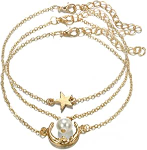 Tgirls Fashion Layered Geometric Star Anklet Gold Moon Pearl Foot Chain Bracelet Beach Jewelry for Women and Girls