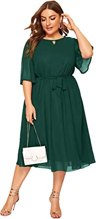 Romwe Women's Plus Size Chiffon Elegant Flared Short Sleeve Belted Cocktail Party Swing Midi Dress