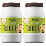 Roots Circle All-Natural Sesame Tahini Paste | 100% Pure Rich & Creamy Ground Sesame Seed Paste for Hummus, Tahini Sauce, Dressing & Dips | Vegan, Kosher | Non-GMO, Gluten & Peanut-Free (2 Jars 16 Oz)