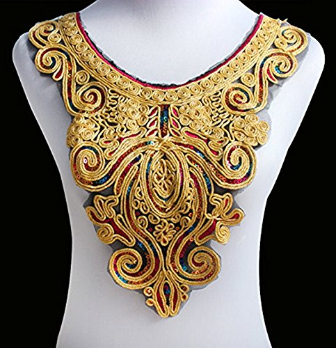 10pieces Gold Metallic Neckline Collar Beaded Sequin Embroidered Patch Applique Lace Collar for Sewing