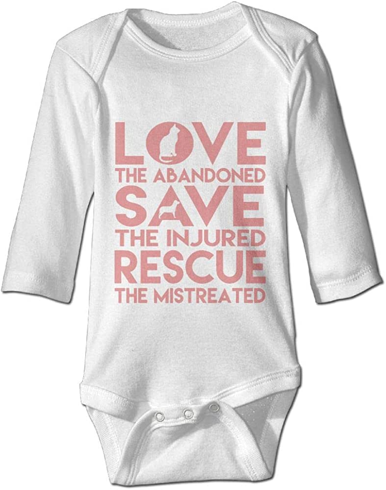 B07HX2QB7Z Printed Love Cat Save Dog Animal Rescue Kawaii Unisex Baby Long Sleeves Romper Jumpsuit 61ZiFUiV6DL