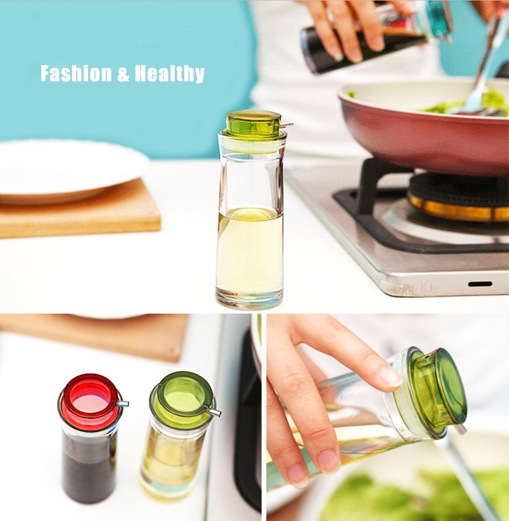Oil Dispenser & Soy Sauce Bottle - GiniHome Non-Drip Cruet Set for Soy Sauce, Olive Oil, Vinegar, Honey. (Green & Red Set of 2) by GiniHome (Image #6)
