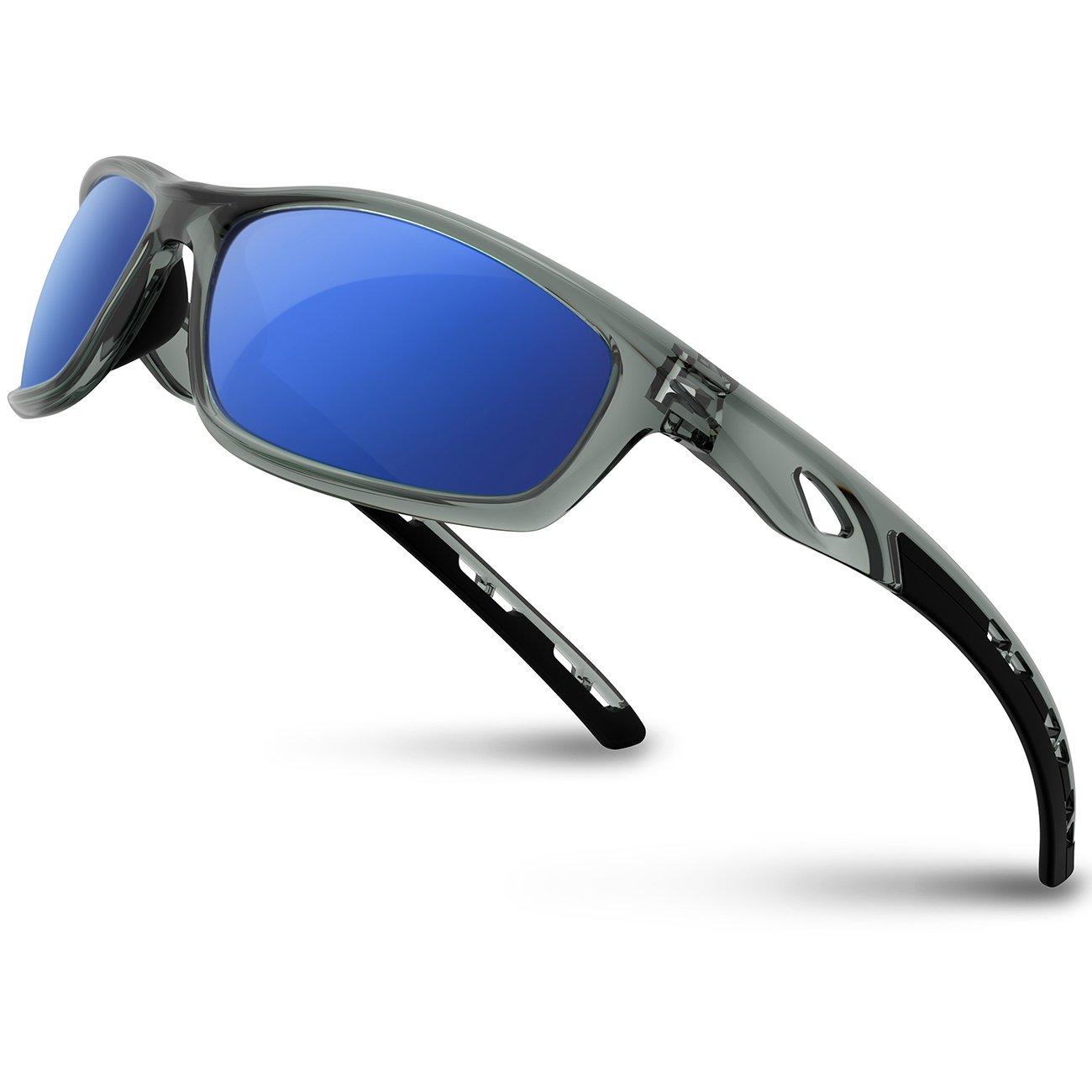 RIVBOS - Gafas de Sol polarizadas para Hombre y Mujer, Montura irrompible para Ciclismo, béisbol, Running, RB833, Hombre Mujer, RB833-transparent Grey Ice Blue, 833-transparent Grey Ice Blue, Medium