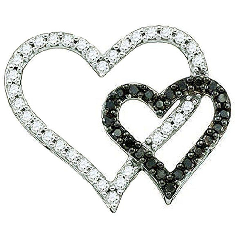 Valentine Double Heart Pendant White Gold Fn Black /& White Simulated Diamond With 18 Box Chain