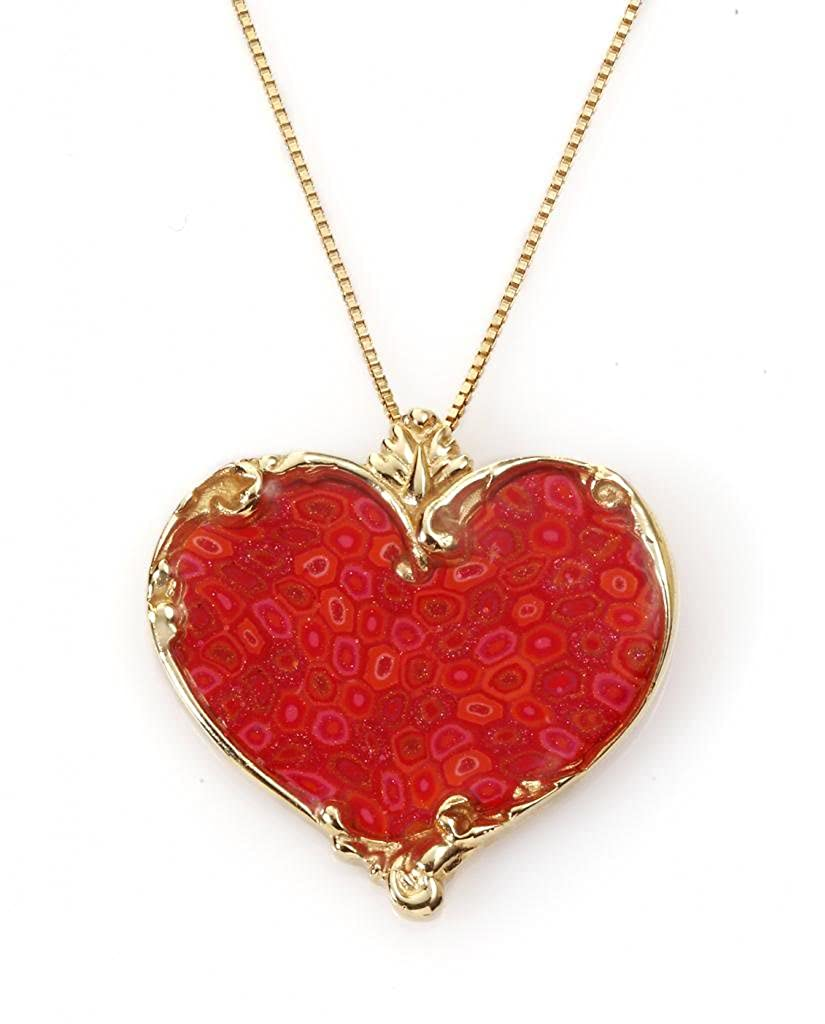 7e56ff2db0 Amazon.com: Gold Plated Sterling Silver Heart Necklace Pendant Handmade Red  Polymer Clay, 16.5