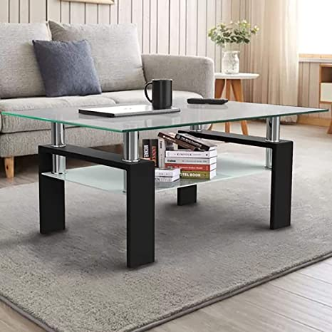 goujxcy glass coffee table modern rectangle coffee table tempered glass living room table side cocktail table living room furniture waiting area