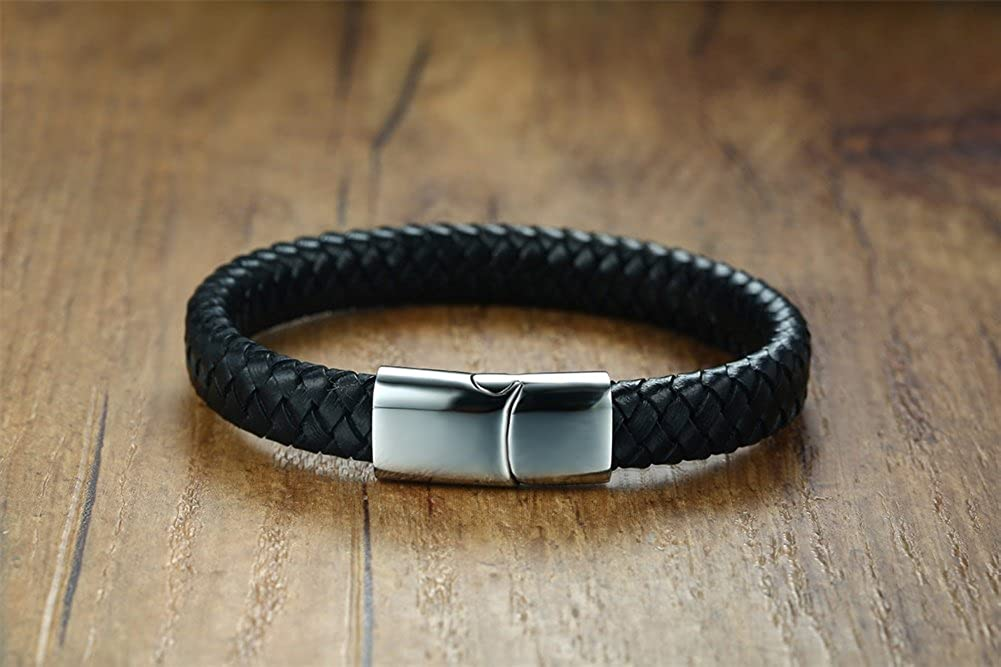 Mealguet Jewelry Mens Personalized Leather Bracelet-Personalized Gift for Him