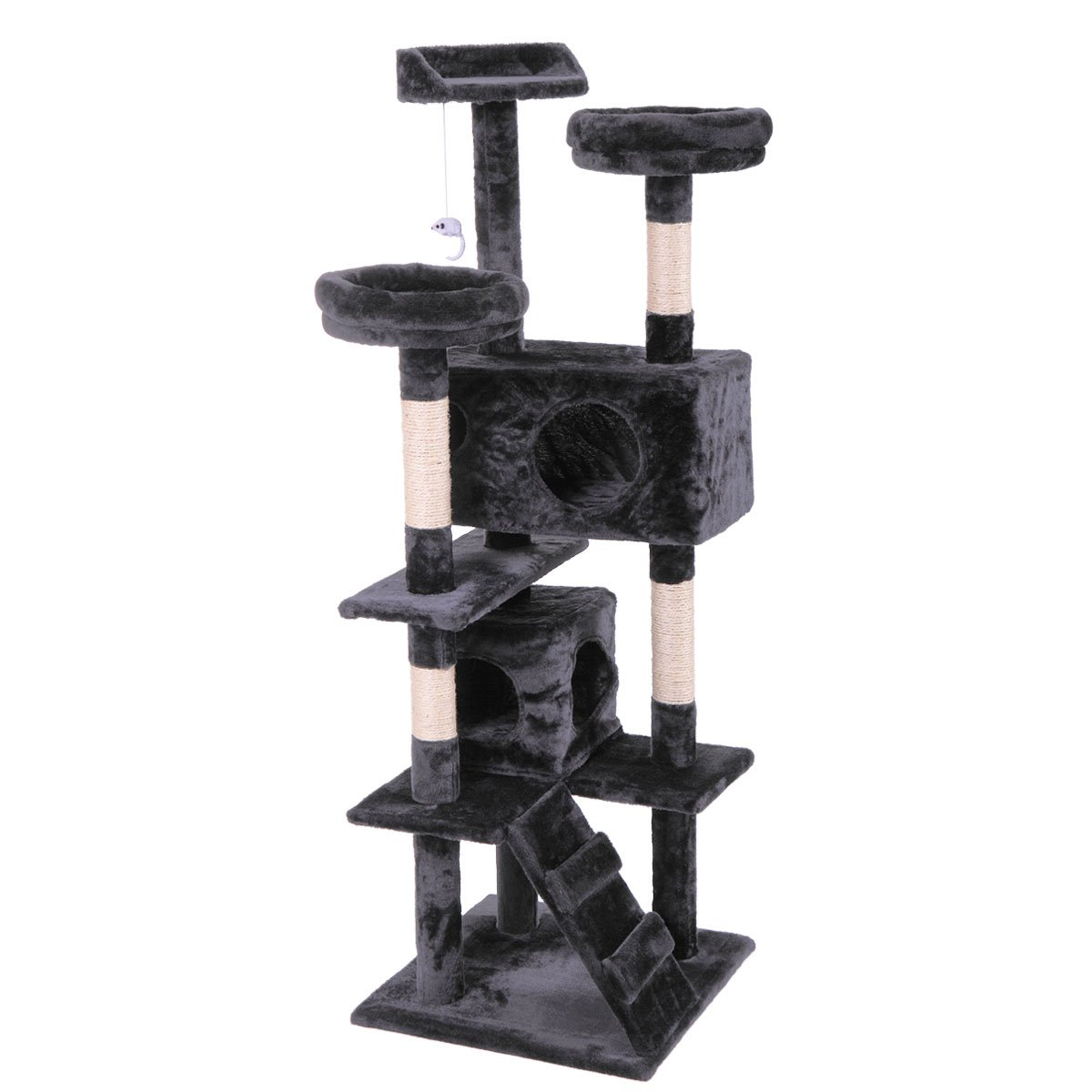 Fabulous Lazymoon 60 Black Cat Activity Tree Tower Condo Furniture Scratching Post Pet Kitty Play House Download Free Architecture Designs Scobabritishbridgeorg