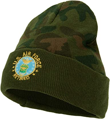 e4Hats.com US Air Force Retired Circle Embroidered Long Beanie