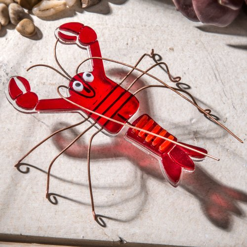 J Devlin Fused Glass Art Red Lobster Collectible Figurine Party Planner Dinner Table Decor FSG 117