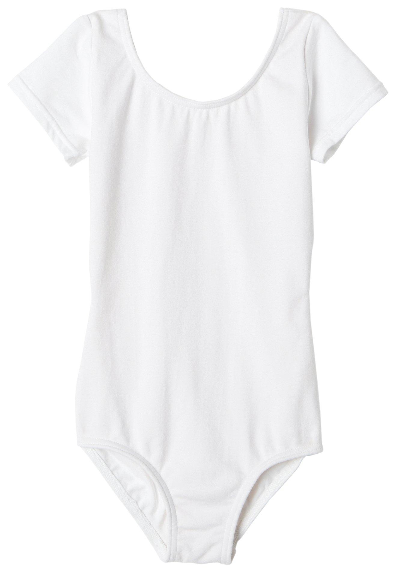 Capezio Little Girls' Classic Short Sleeve Leotard,White,S (4-6) by Capezio