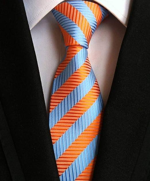 COMVIP Hombres Negocios tejida vintage raya la corbata Lazo sólido ...