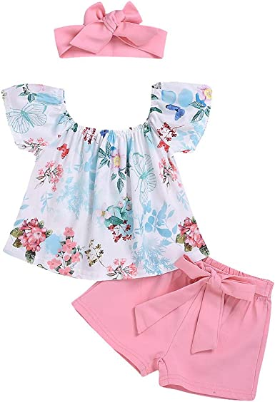 Lace Sleeveless Vest+Suspenders Floral Shorts 2Pcs Outfits for Toddler Kids Newborn Baby Girls Summer Clothes